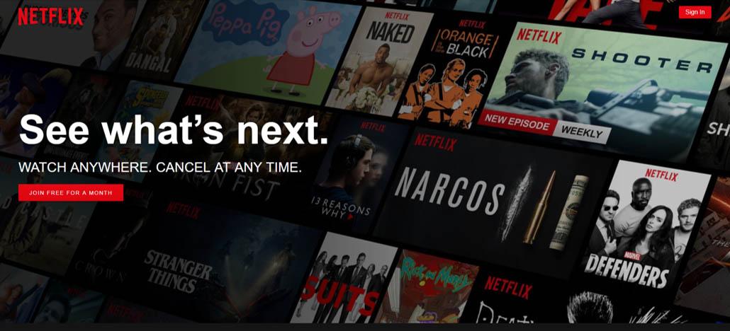 Netflix.com's Homepage - An eye-catching immersive photo