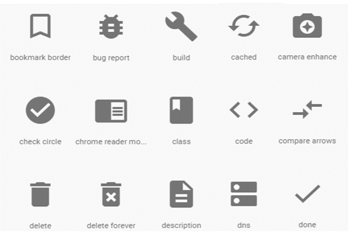 Sample UI Icons from material.io