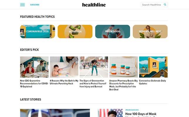 Healthline homepage