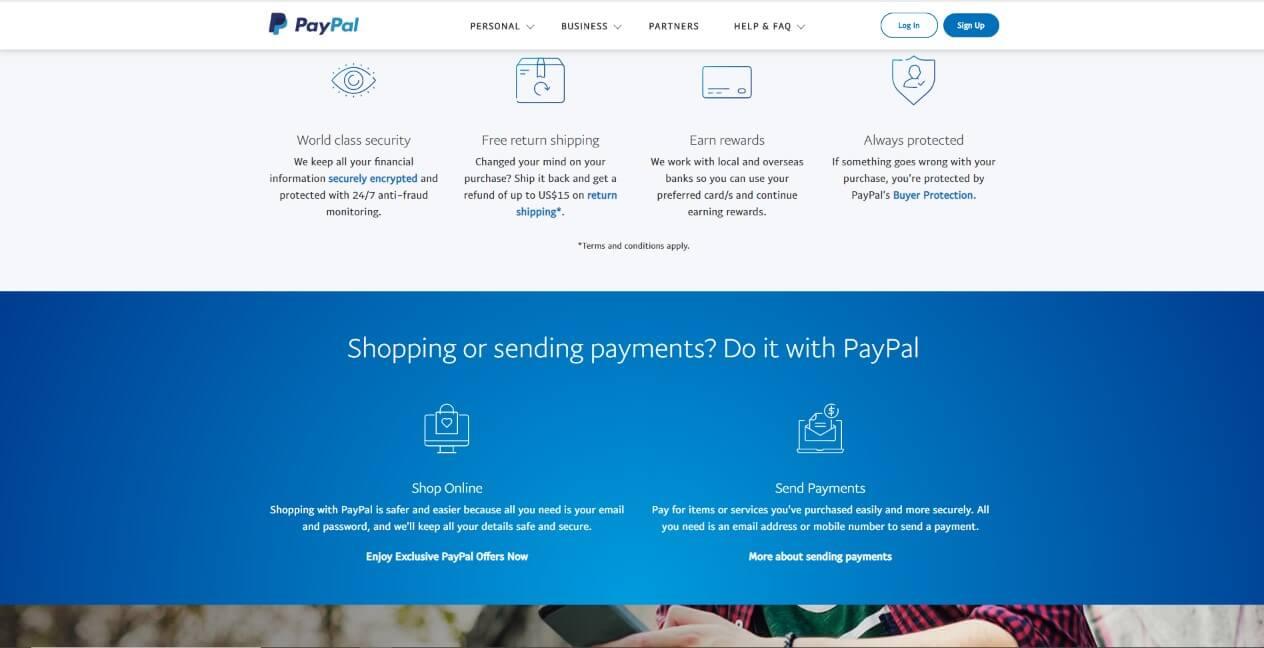 website UI design trend 2020 - PayPal