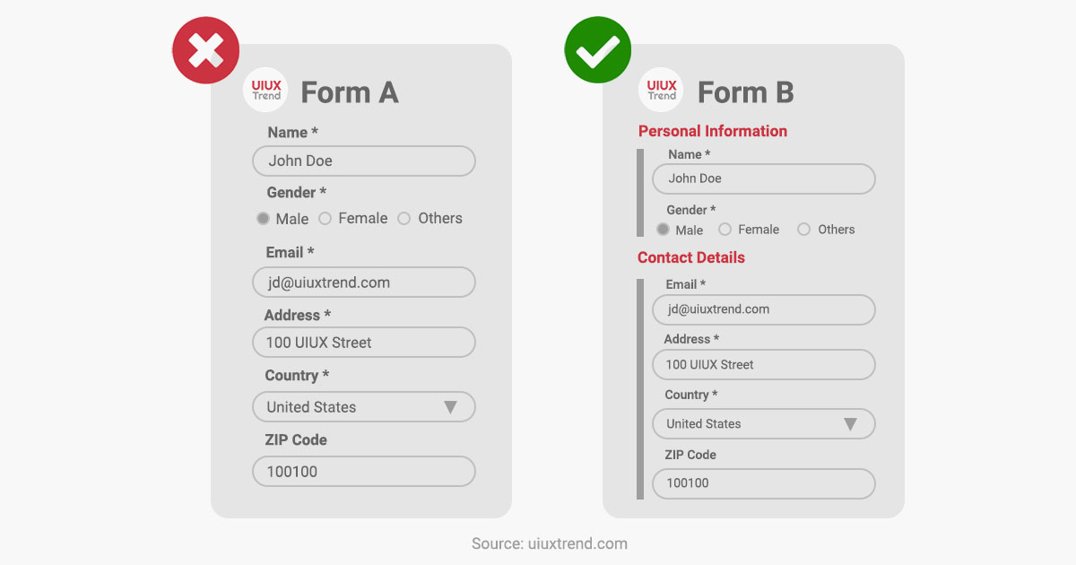 UIUXTrend - UX Tips for Forms (Group Related Fields)